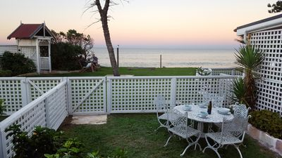 Photo for Direct beachfront access family apartment - Private garden to beach (A4)