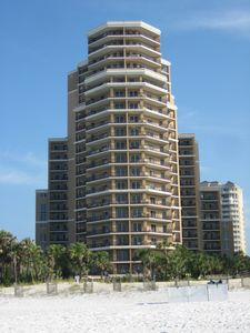Beach view of Westwinds building. Fifteenth floor is at wide band near bldg top