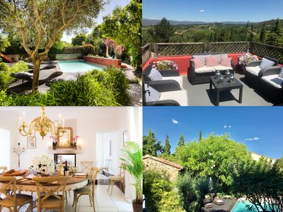 Photo for OLD BUILDING Pool, Garden and Terrace views towards GORDES and JOUCAS