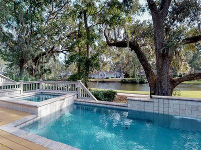 Photo for Sunny home w/ private pool, spa, lagoon & golf course views - beach nearby!