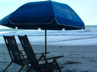 From May thru end of Sept, 2 umbrellas, 4 chairs set up for guests!