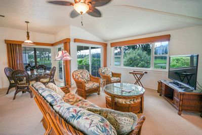 Living Room with Vaulted Ceilings opens to Large Lanai