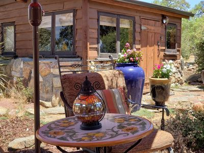 The Casita and outdoor seating area.