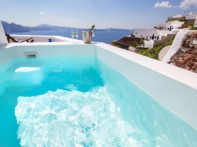 Photo for villa Paride, honeymoon suite/breath taking ocean -volcano view! Νew  hot tube !