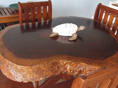 Locally commissioned and made Guanacaste wood dining table.