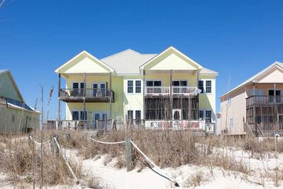 Property as seen from the beach. Sunset is on the left hand side.