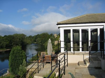 River Tees, Conservatory and Outdoor Dining Area, viewed from the garden terrace