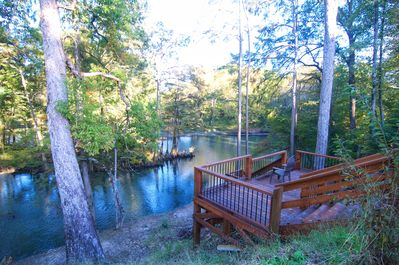 Private deck leading to the Lower Mountain Fork River
