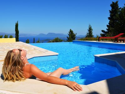 Photo for Secluded, tranquil luxury Villa with breathtaking views across the Ionian