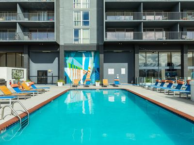 Photo for High-rise studio condos w/ shared pool, gym & outdoor rooftop lounge - views!