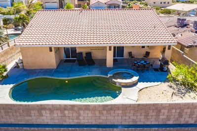 Mineral water pool and spa (one of two vacation rentals in the area)