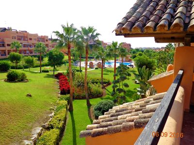 view from roof terrace towards pool