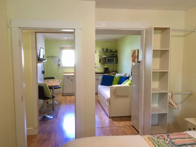 Comfortable , cozy and charming with dining for 3 . Lots of natural light!