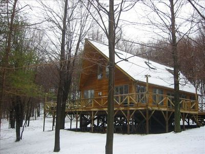 Photo for Mountain Chalet Cabin w/campfire, hiking trails, mountain views, 70 wooded acres