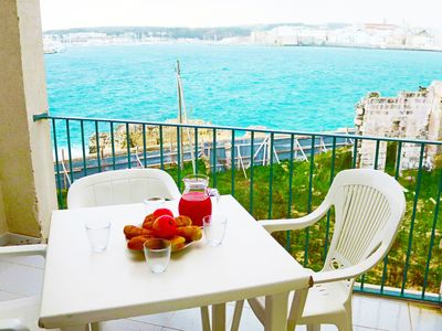 Photo for Holiday Apartment with Wi-Fi, Air Conditioning Balcony and Sea View; Pets Allowed
