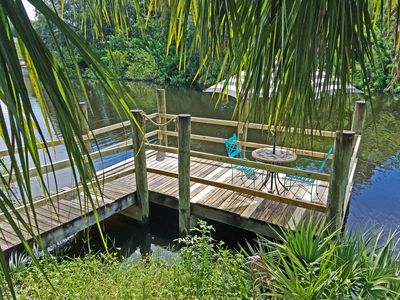 Photo for CANAL FRONT, PRIVATE DOCK- Relax on the swing under the huge oak