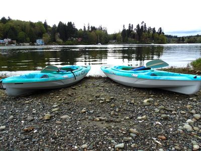 Complimentary kayaks. Right view of Eagle Harbor