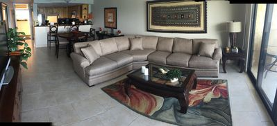 LIving Room w/new circular couch, more seating w/views for everyone!