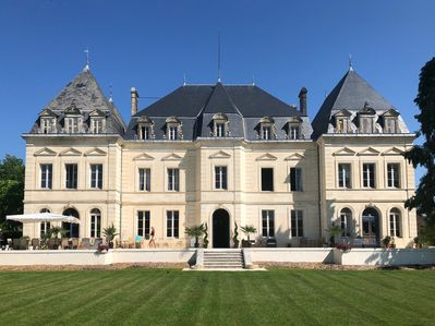 The back of the chateau, looking over the rolling lawns