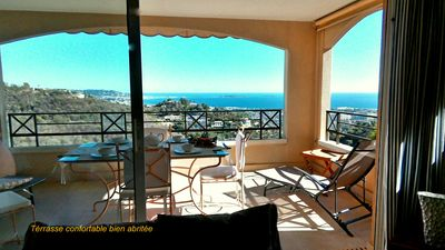 Photo for Superb sea view, near CANNES, Appt 3p 70m ², air conditioning, wifi, garage, swimming pools