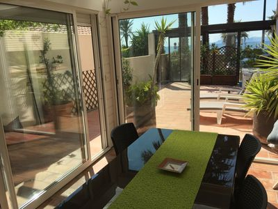 Photo for T2 Brusc beach front, sea view, proch trade, marina