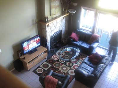 Living room as viewed from upper lounge
