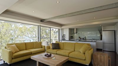 Relax in a comfortable lounge with views to Lorne