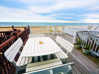 Photo for Bright, colorful 3 bedroom oceanfront townhouse with WiFi, fun decor, and two decks with fabulous ocean views located midtown and only steps to the beach!