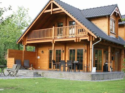 Photo for Luxury wooden villa Albert with views over farmlands in wooded surroundings
