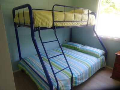 Double bed with single bed over the top in 2nd Bedroom