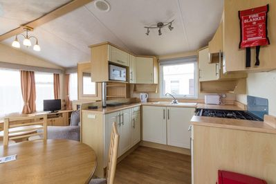 Kitchen in this 8 berth caravan for hire