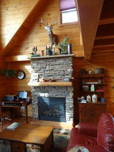 Photo for Level lakefront!  Family fun in this modern luxury log cabin.  New beds!