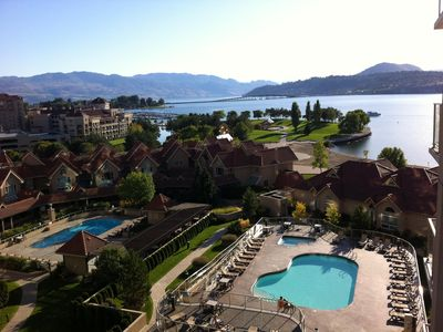 Beautiful Lake Okanagan, waterfront and pool view from patio.