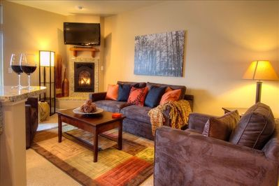 Enjoy a glass of wine by the fire after your day of shopping and/or hiking.