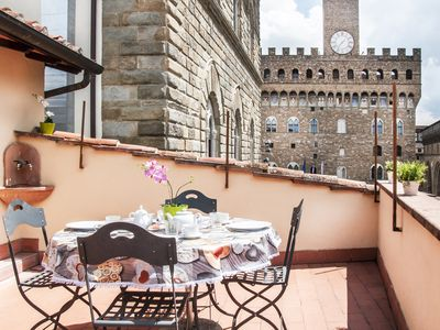 Photo for Art Apartment Palazzo Vecchio - Wonderful terrace with amazing view.