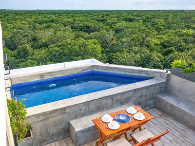 Photo for Designer Penthouse w/ Private Rooftop Pool | View of Mayan Ruins | Bike to Beach