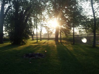 A gorgeous sunrise to start the day at this peaceful retreat.