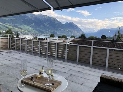 Photo for Penthouse with fantastic view in to moutains and across lake Sarnen
