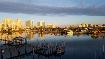 Photo for Palm Paradise! Clrwtr Bch 4+/3- Luxury! Waterfront-Poolside End Unit w Boat Slip