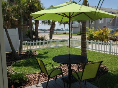 Private fenced yard with water-view and three minutes walk to the beach.