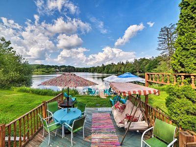 Photo for Poconos Lake Home w/Comm Pool, Paddle Boat & Dock!