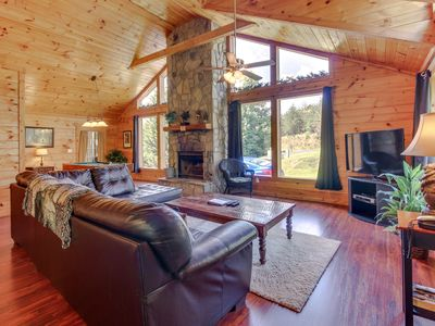 Photo for Updated cabin-style mountain home w/ sauna, private hot tub, dogs OK!