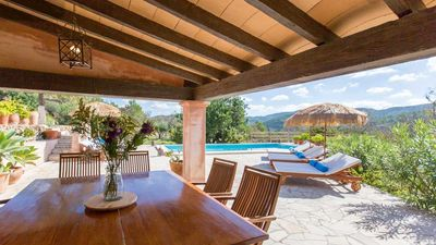 Photo for Charming and authentic Ibicencan house, with pool, barbecue, near San Jose and the beach of Cala Con