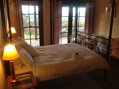 Double bed room with view over valley