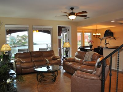 Photo for Waterfront townhome with dock and view of South Padre Island