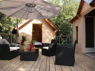 "Photo for Eco cottage ""the 3 accomplices"" heated pool 4/6 pers 8 mn vallon pont d'ar"