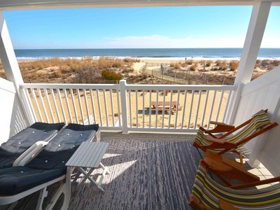 Photo for Cozy, fun oceanfront efficiency condo with free WiFi, a handy storage locker, adorable coastal decor, and a breathtaking view of the ocean located uptown and just steps to the beach!