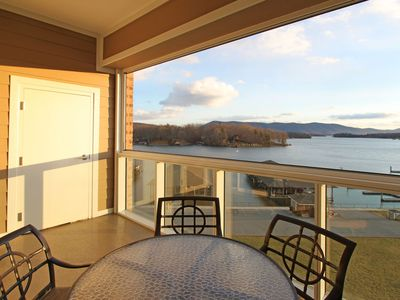 Photo for waterfront condo, wifi,  wide water view to mountain