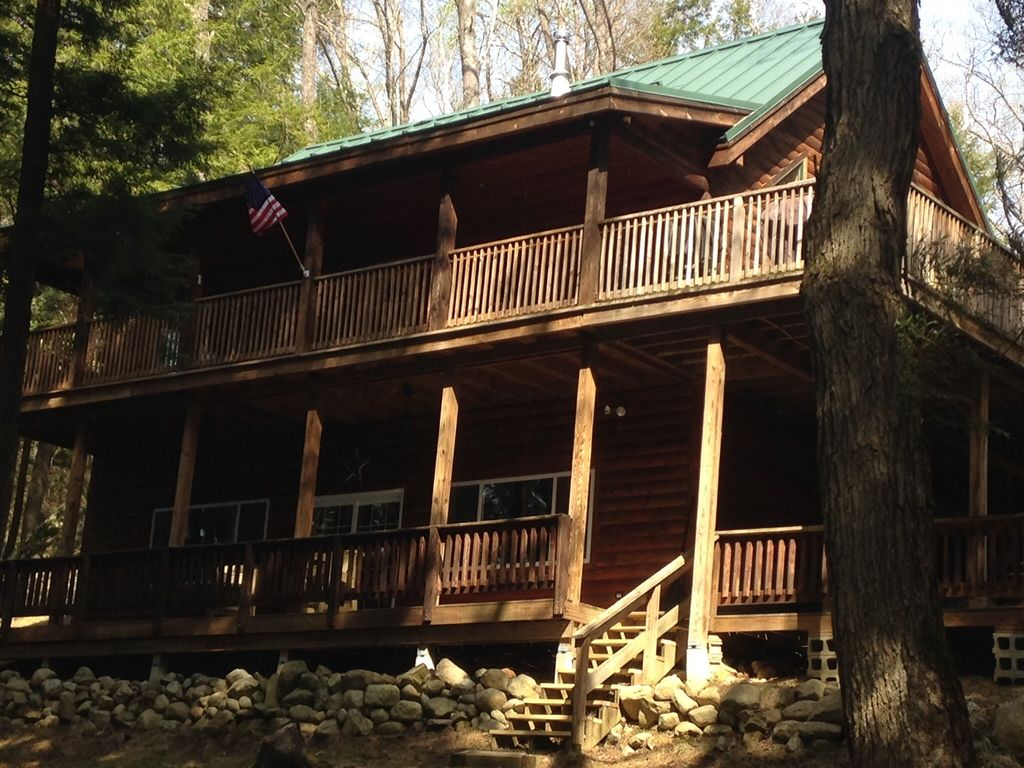 Private Lakefront Luxury Log Cabin With HomeAway Chesterville - And architectural cottages on secluded private pond homeaway