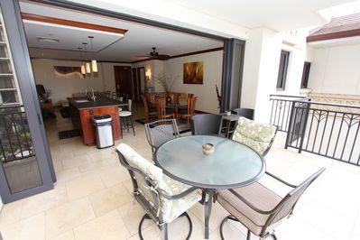 Enjoy morning coffee, plus lunch, dinner & cocktails on this spacious lanai